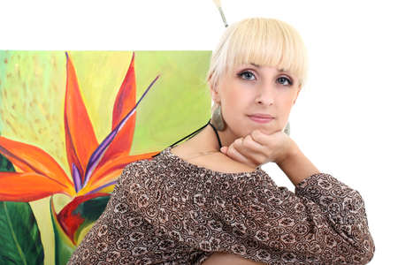 blondie woman painter with picture over white Stock Photo - 7859876