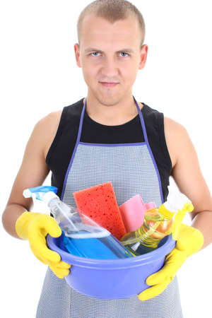 young man with cleaning supplies photo
