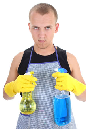 homemaker: young homemaker with cleaning spray