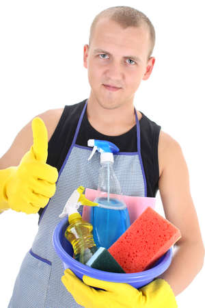 young man with cleaning supplies giving thumbs up Stock Photo - 7859664