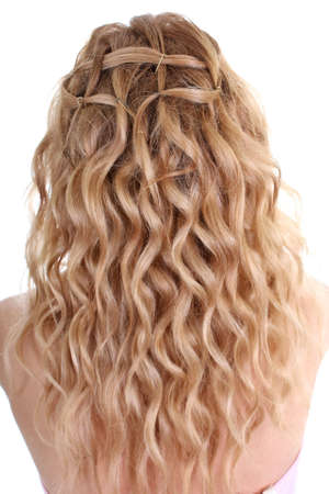 curly female hair over white background