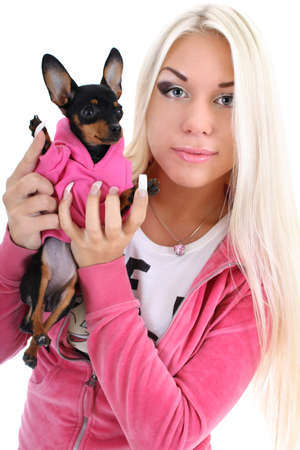 portrait of young glamorous woman with toy-terrier over white background photo