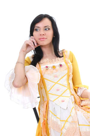 woman in yellow medieval dress over white background photo