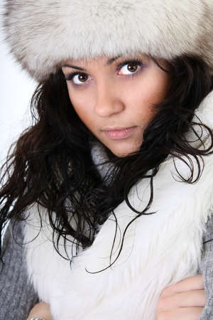 young attractive woman in fur hat Stock Photo - 8203518