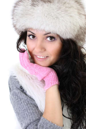 attractive woman in fur hat isolated over white background Stock Photo - 8203522