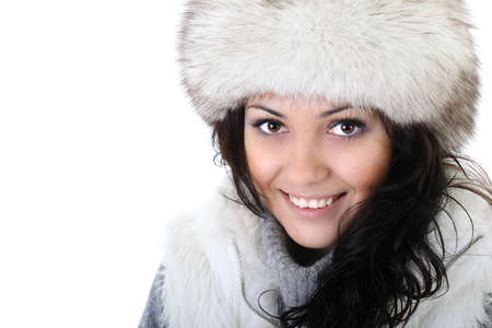young attractive woman in fur hat photo