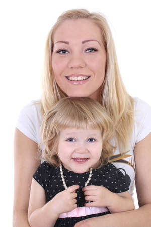 little daughter with mom over white background photo