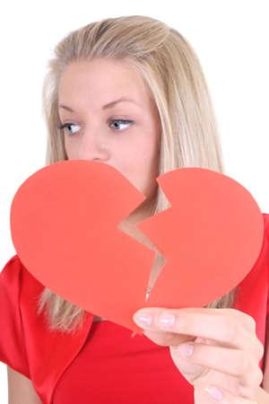 Sad woman with broken heart photo