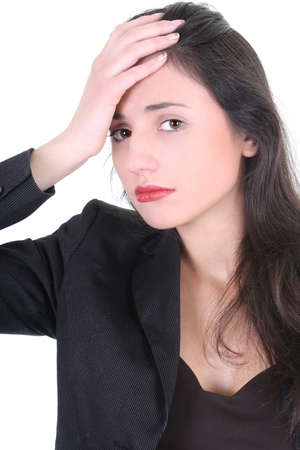Young businesswoman with a headache over white photo