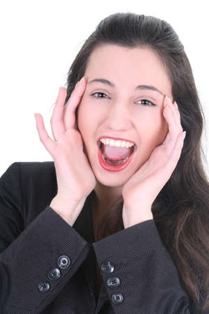 Young pretty businesswoman very happy over white Stock Photo - 8883833