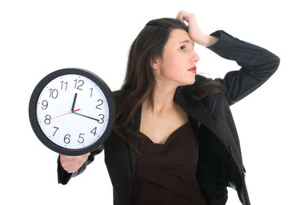 Shocked businesswoman with clock over white photo