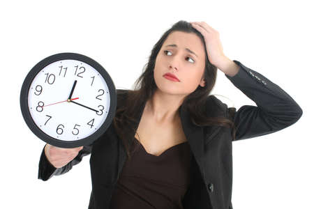 Shocked businesswoman with clock over white Stock Photo - 8883908