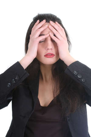 Business woman with a headache over white Stock Photo - 8883822