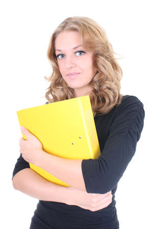 Business woman with yellow folder over white Stock Photo - 9263884
