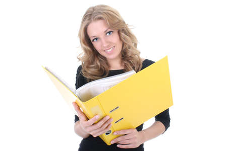 Business woman with yellow folder over white photo