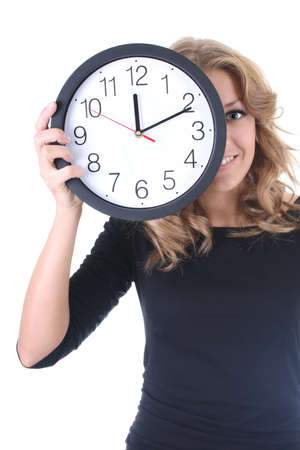 Woman in black with clock over white photo