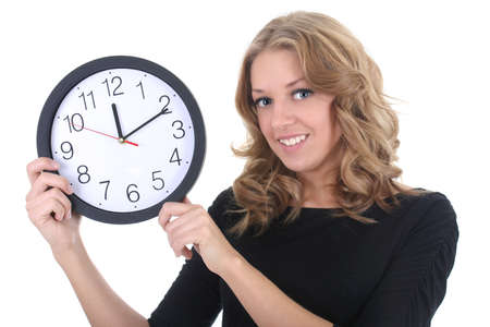 Happy woman in black with clock over white photo