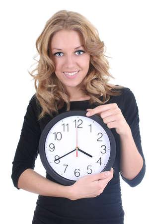 woman clock: Mujer feliz en negro con reloj sobre blanco