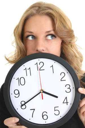 Thinking woman in black with clock over white Stock Photo - 9263900
