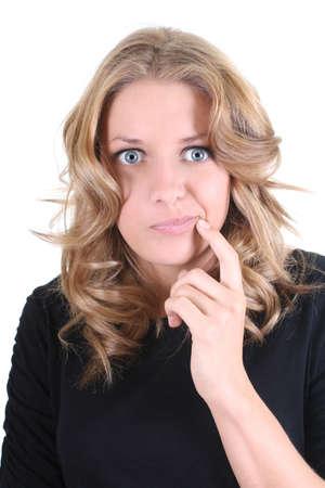 Portrait of beautiful thinking woman over white photo