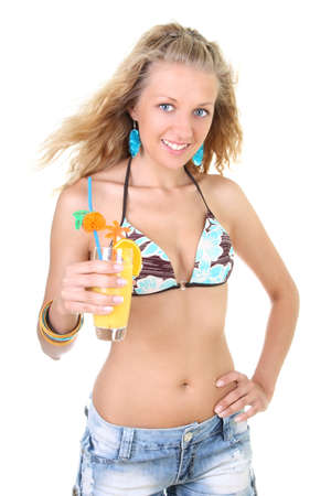 Young woman with glass of fresh juice in hand photo
