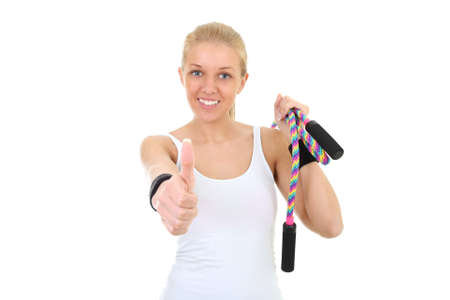 beautiful girl with skipping rope thumbs up photo