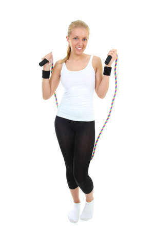 blonde with skipping rope standing over white photo