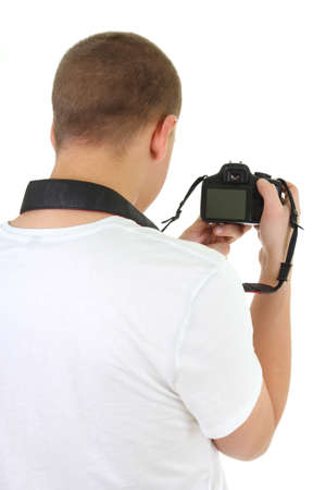 photo camera in male hands over white photo