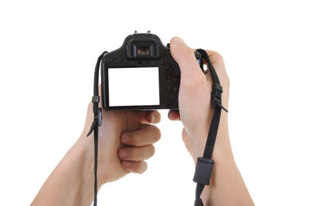 digital  camera in male hands. copyspace photo
