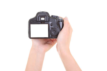 dslr camera in male hands over white. copyspace