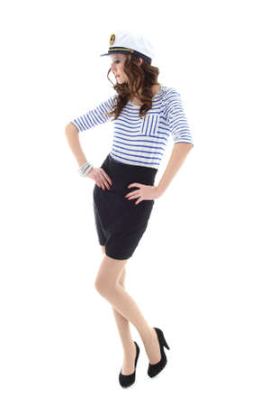 young model in sailor clothes standing over white background Stock Photo - 12930261
