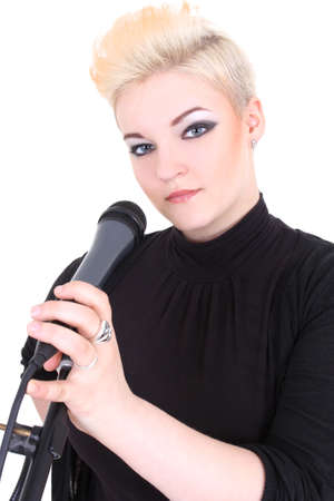Happy blonde woman with microphone over white photo
