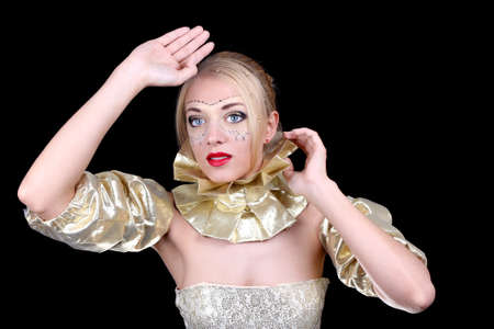 Beautiful woman with golden venetian mask on face Stock Photo - 13854811