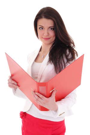 Happy brunette woman with red folder over white Stock Photo - 13913551