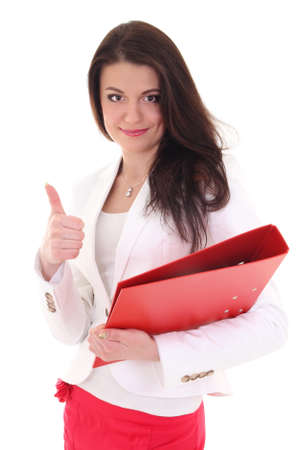 Happy woman with folder showing ok sign over white photo