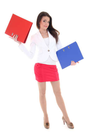 Happy woman with red and blue folders over white photo