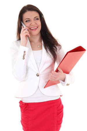 Happy woman with red folder and telephone over white photo