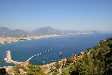 View of the city and port of Alanya photo