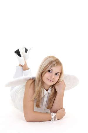 highkey: Blonde girl in angel wings over white