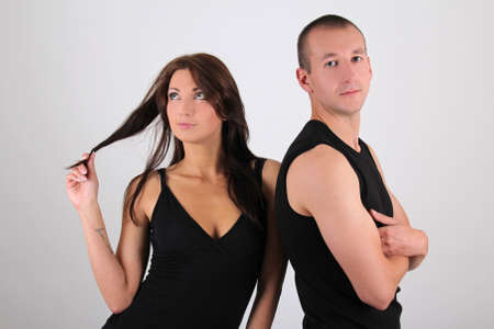 young couple man and woman over white background Stock Photo - 15763702