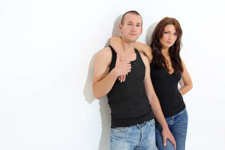 man and woman in black over white Stock Photo - 15763705