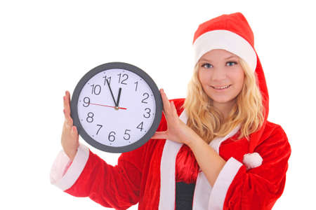 girl with santa hat holding clock isolated on white Stock Photo - 16011354