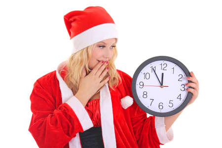 girl with santa hat holding clock isolated on white Stock Photo - 16011349