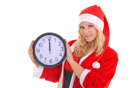 girl with santa hat holding clock isolated on white Stock Photo - 16011336