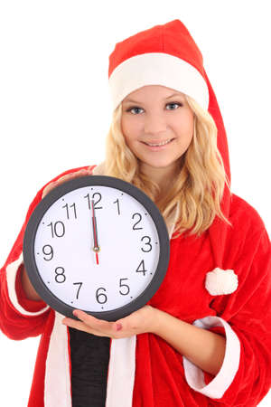 girl with santa hat holding clock isolated on white Stock Photo - 16011392