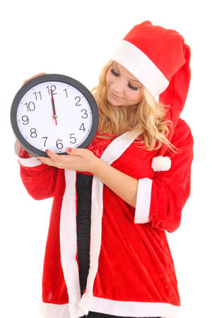 girl with santa hat holding clock isolated on white Stock Photo - 16011387