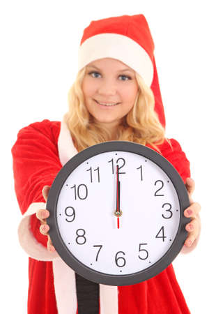 girl with santa hat holding clock isolated on white Stock Photo - 16011342