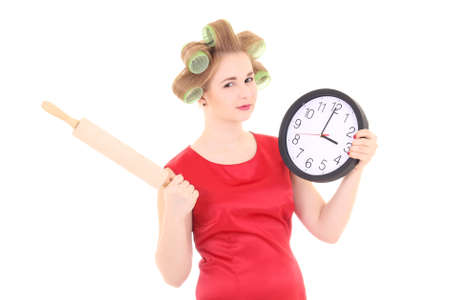 funny housewife with roller-pin and clock over white background Stock Photo - 17419683