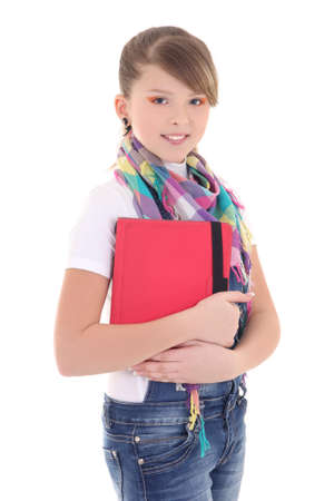 teenage girl with tablet pc over white photo