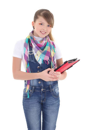 attractive girl holding tablet pc over white background photo